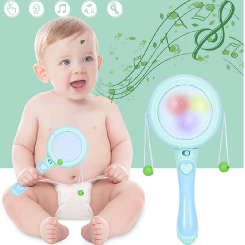 0-12 Months Infant Toys Cute Baby Electric Rattle Musical Drum Christmas Gift