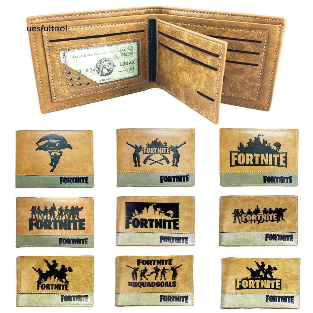 ღues_Fashion Fortnite Faux Leather Card Cash Holder Men Student Short Wallet Gift