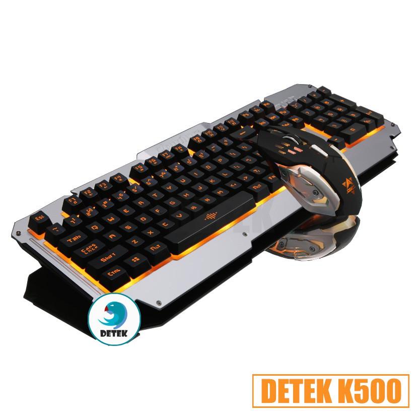 Combo Bàn phím giả cơ và chuột game thủ Detek K500 LED tặng miếng lót Chuột ngẫu nhiên