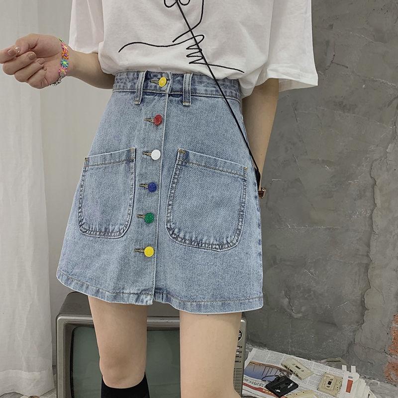 Chân Váy Denim Chữ A Lưng Cao Phong Cách Hàn Quốc