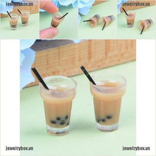 JX 2PC Doll house miniature tea with milk cups food drink beverage toy decor[VN]