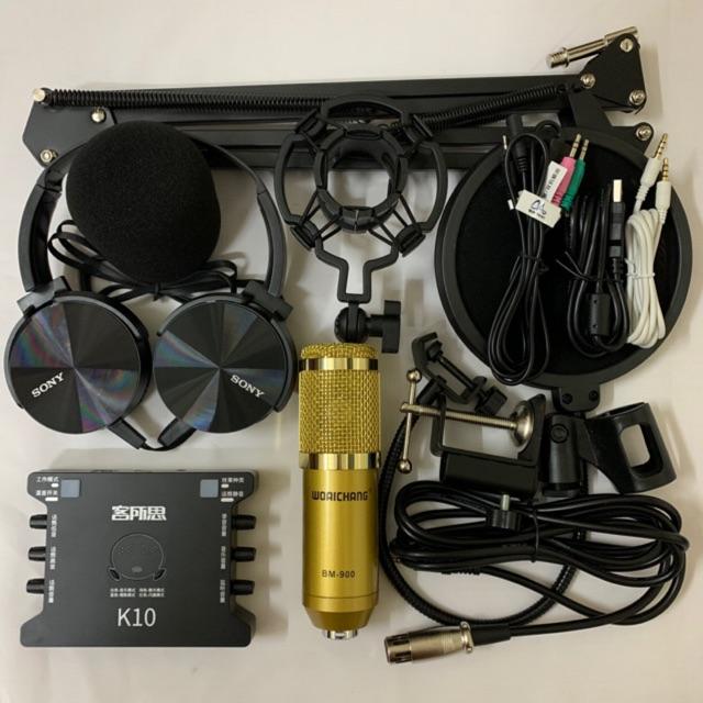 COMBO bộ mic livestream hát karaoke BM900, card xox k10, dây livestream loại tốt, chân kẹp míc, màng lọc âm tai nghe 450