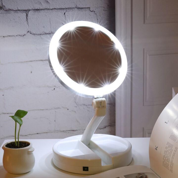 [ SALE ] [ Best Sale ] Gương trang điểm đèn led để bàn gấp gọn hình tròn GDBEO09 [ SALE ]