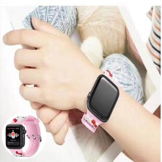 Dây đeo silicone họa tiết mèo Hello Kitty cho Apple Watch 1 2 3 4 cỡ 38-44mm