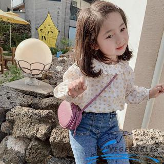 VD ❀Girls baby Long Sleeve Flowers Printing Small Fresh Lotus Leaf Lace Children Top