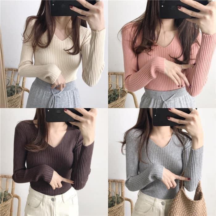 Áo len đũa cổ tim