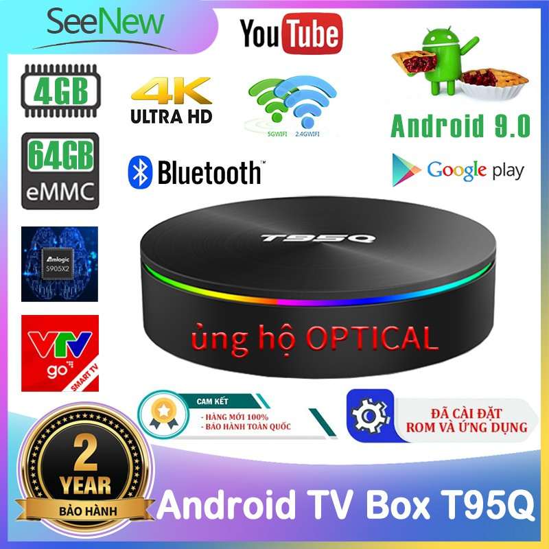 SeeNew TV Box T95Q Siêu mạnh 4K 4G+64G S905X2 Android 9.0 Tivi Box Gigabit Optical Wifi Bluetooth với Ứng dụng miễn phí