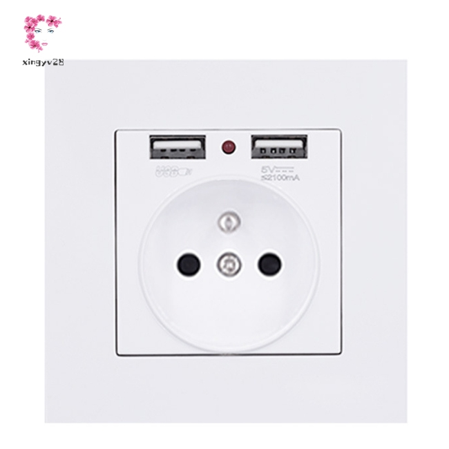 Electrical Wall Outlet with Double USB Charger 16A European Regulation