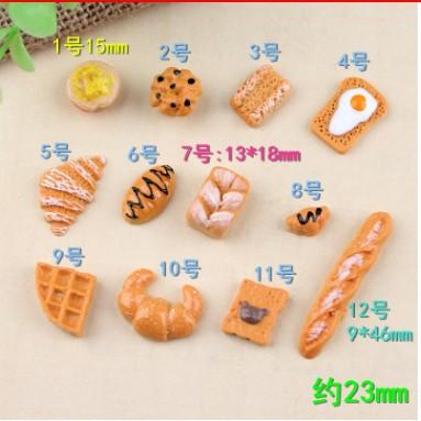 Mô hình Bánh mì phụ kiện trang trí charm slime