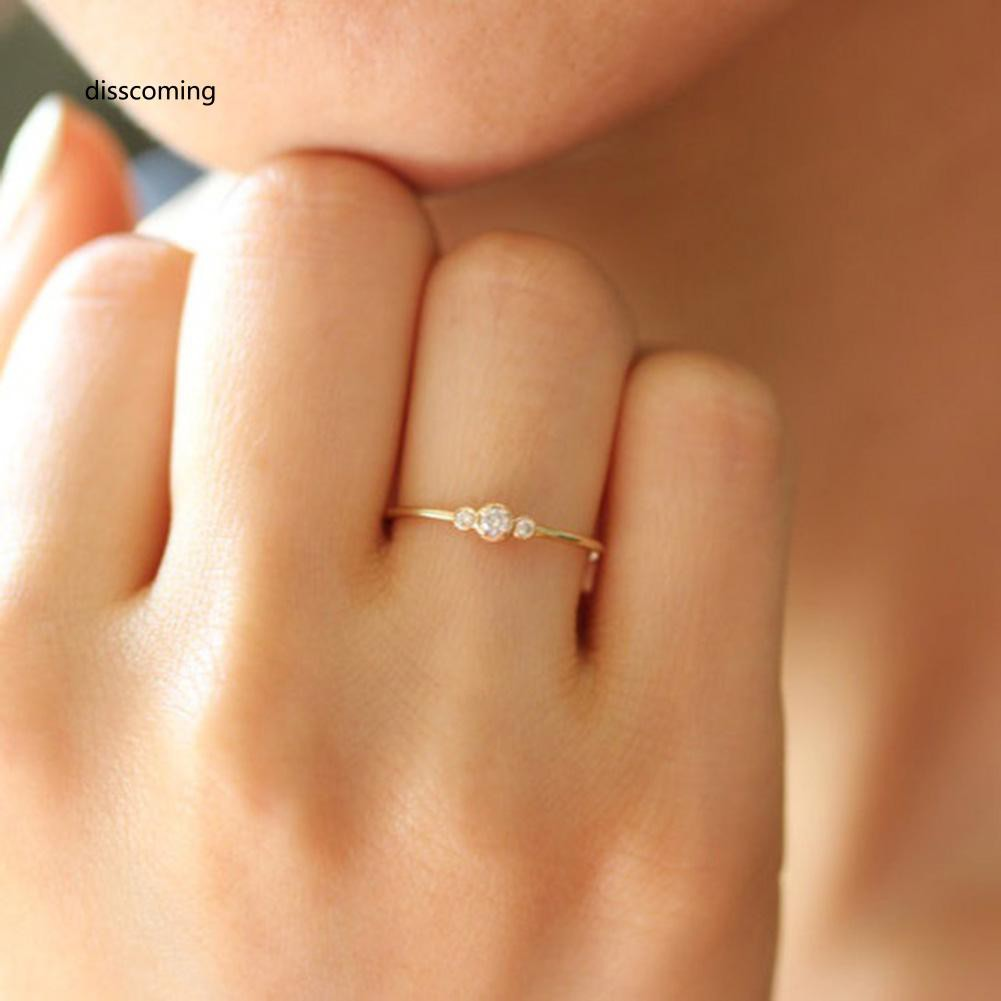 JZ-Fashion Simple 3 Zircons Alloy Charm Ring Anti Allergy Women Lady Jewelry Gift