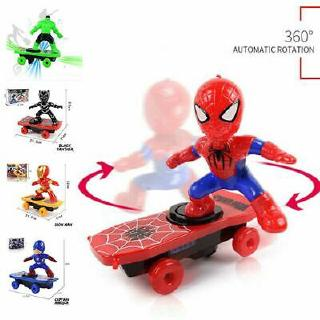 Electric Spiderman Skateboard Ironman Hero With Light Music 360° Tumbler Kid Toy