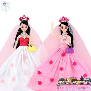 【lin】11 Joints 3D SImulation Bridal Veil Doll Set Girl Play House Toy Random Color