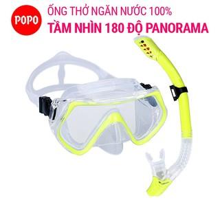 Bộ kính lặn ống thở POPO SET1526 mắt kính cường lực chống xước góc nhìn PANORAMA, ống thở van một chiều ngăn nước 100%