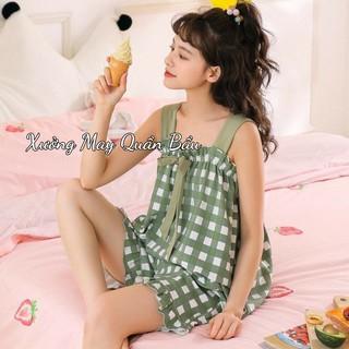 Bộ Bầu Ngủ quần bầu đùi áo 2 dây cực kỳ mát mẻ cho mẹ bầu mùa hè quần có chun chỉnh BĐ833