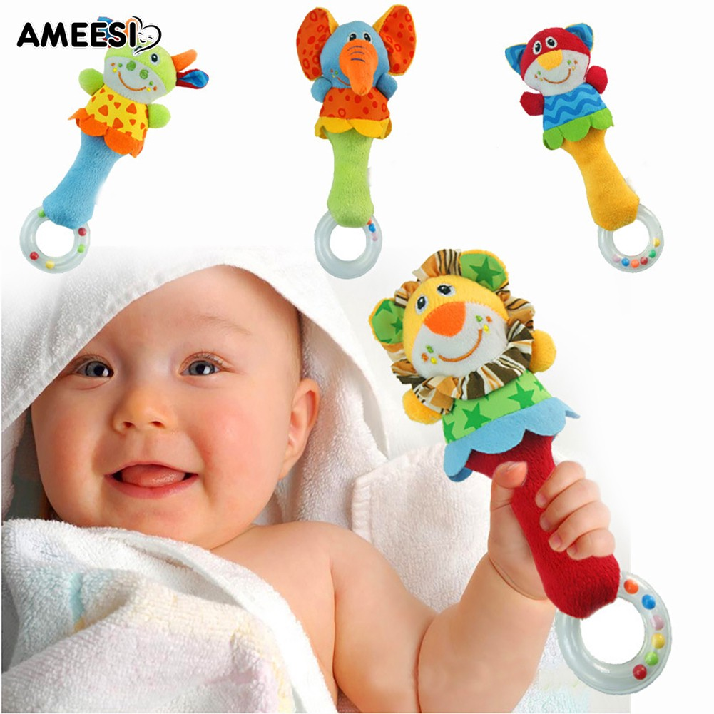 🔅🔆AMEESI  Lion Cat Calf Teether Hand Rattle Toy Shaking Jingle Bell