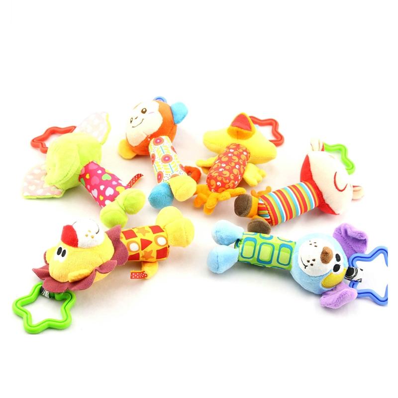 1PC Kids Baby infant Animal Hand bell Stroller Bells Developmental Soft Toy