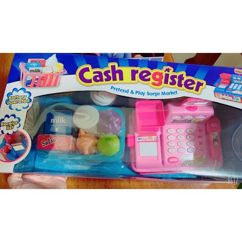 Đồ chơi máy tính tiền siêu thị kèm đồ và tiền cho bé (sử dụng pin)