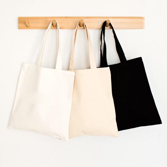 Túi vải tote nữ Canvas trơn trắng,đen,ngà có khóa -Sỉ balo Túi