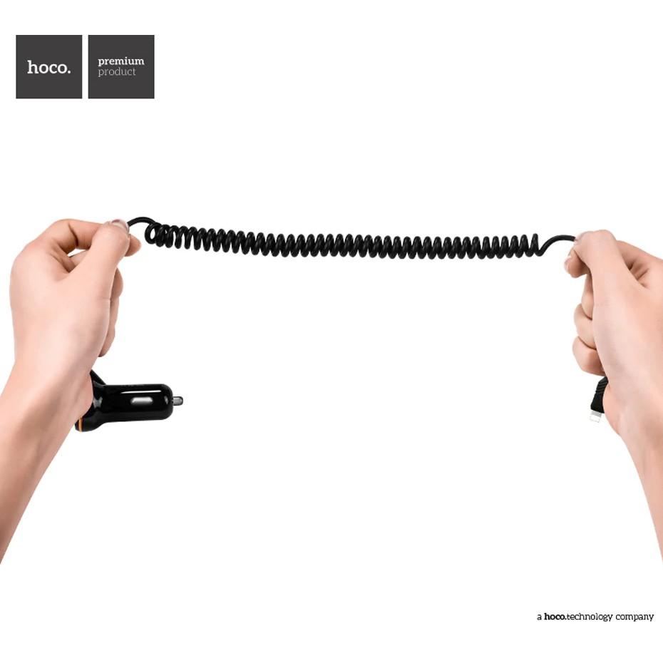 Thiết bị sạc điện thoại HOCO Z14 5V 3.4A có dây cáp lò xo tiện lợi dành cho xe hơi
