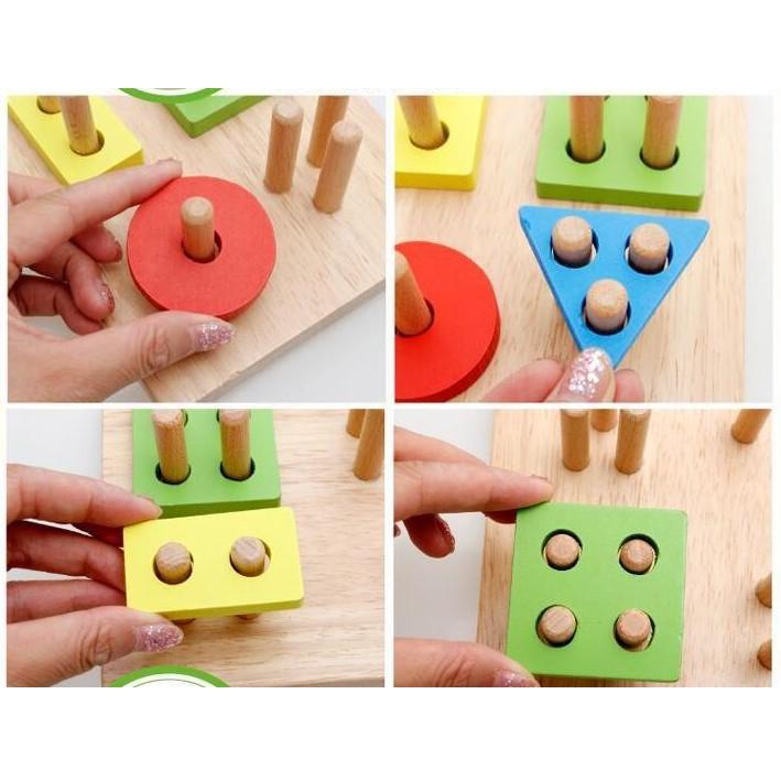 [RẺ VÔ ĐỊCH] Đồ chơi thả hình 4 trụ hình vuông cho bé