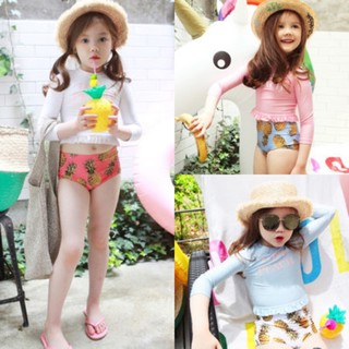 [SIZE TO 25-40kg] Bộ đồ bơi tay dài bé gái LOVE PEACH croptop quần cạp cao siêu kute thumbnail