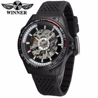 Đồng hồ nam lộ cơ tự động WINNER 8029 dây silicone (Đen)