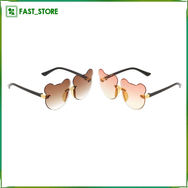 2pcs Summer Cartoon Cat Ear Sunglasses Rimless Beach Decor Kid UV400 Fashion