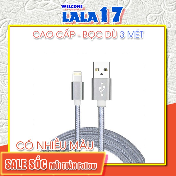 Dây cáp sạc 3m cho iphone android samsung oppo type c micro - Lala17