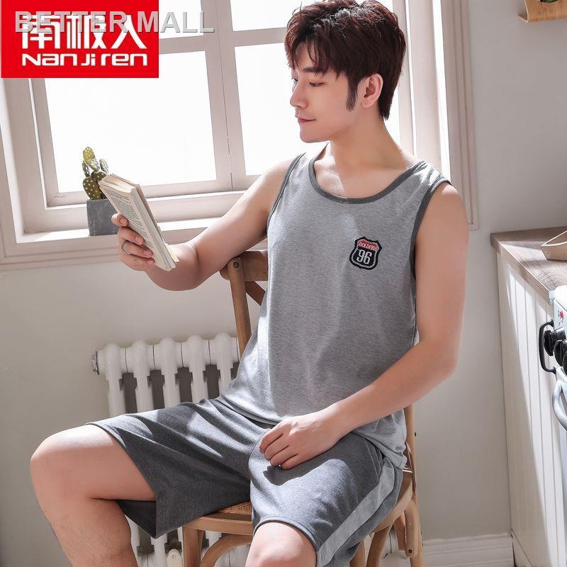 ◑✽♝Antarctic nam pyjamas nam summer cotton thin suit nam veston plus size home service