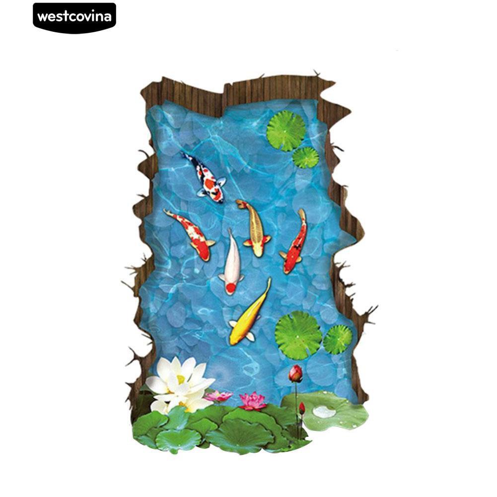 Nhãn dán trang trí hình ao cá Koi 3D độc đáo