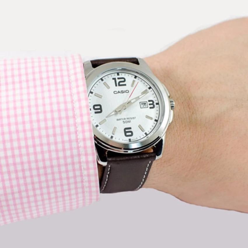 Đồng hồ nam dây da Casio chính hãng Anh Khuê MTP-1314L-7AVDF