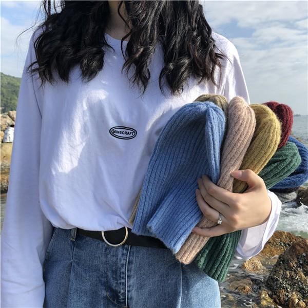 Mũ len cừu dệt kim màu trơn phong cách ngọt ngào thời trang hàn quốc dành cho nữ