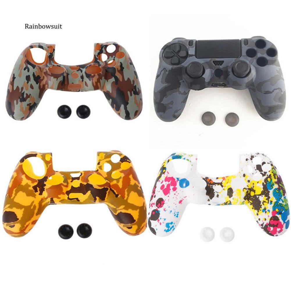 【RB】Camouflage Soft Silicone Gamepad Cover Case Joystick Caps for PS4 Controller