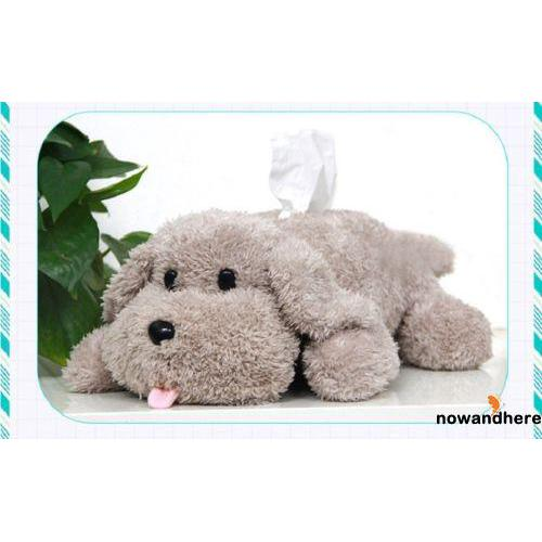 ANV-1pc Cute Poodle Plush Soft Tissue Box Cover Holder Dog Toy Paper Box Home