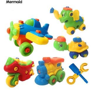 Cartoon Animal Aircraft Car Kids DIY Assembling Mini Model Educational Toy