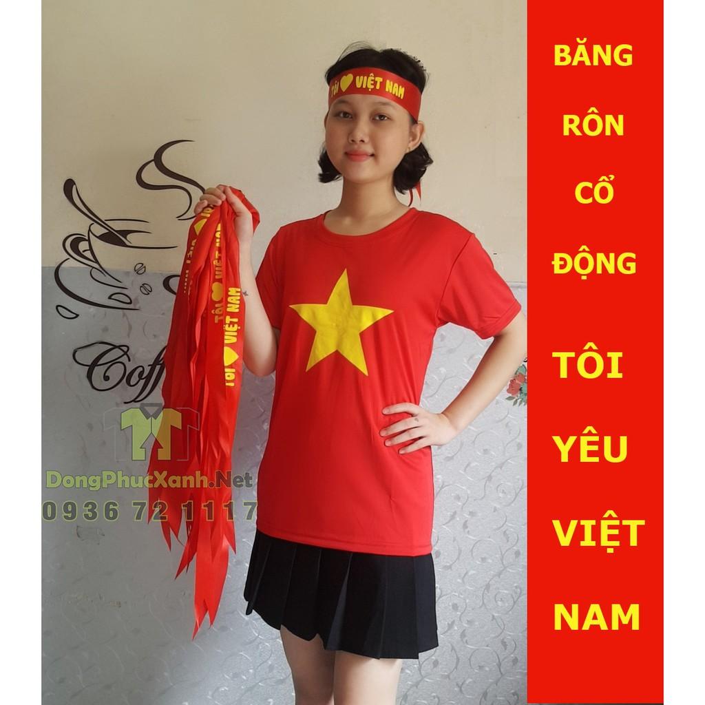 Băng rôn tôi yêu Việt Nam Băng rôn cổ động đội tuyển Việt Nam Băng rôn cổ vũ bóng đá Băng đô buộc đầu tôi yêu Việt Nam