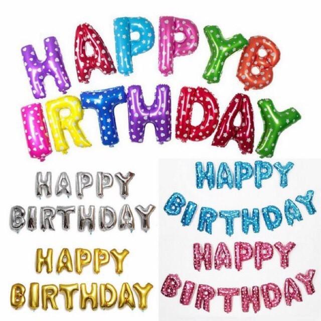 Set bóng SINH NHẬT - Dải 13 bóng chữ HAPPY BIRTHDAY - bóng trang trí sinh nhật loại to 40cm