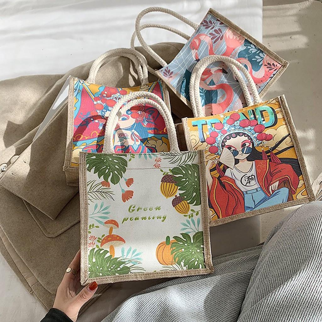 Túi cói mini đi biển nữ đẹp đi chơi thời trang dễ thương cute cá tính phong cách Vintage TV44
