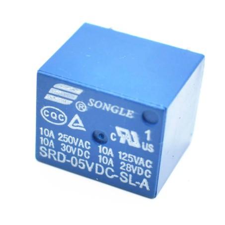 Rơ le Relay songle 5V 10A 250VAC (SRD-05VDC-SL-A) màu xanh