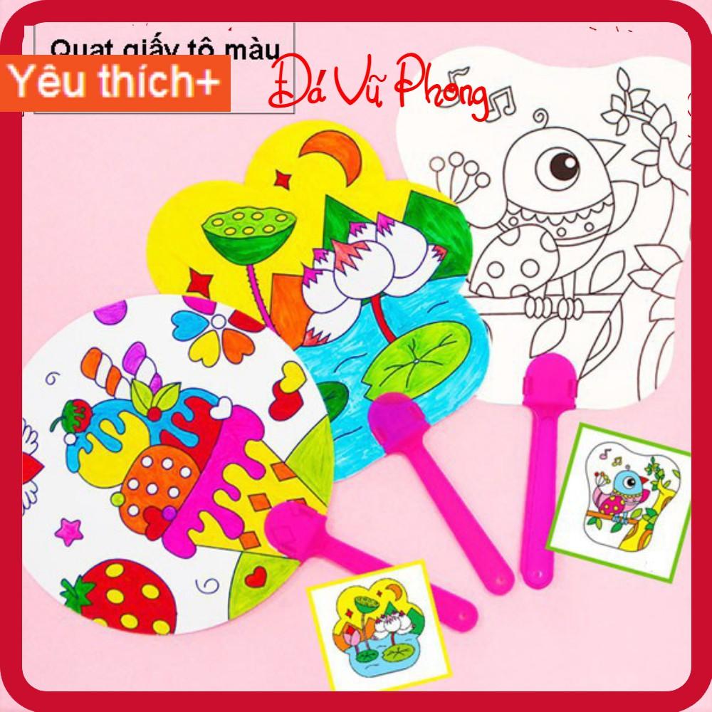 Quạt giấy cho bé vẽ tô màu thủ công sáng tạo phát triển năng khiếu hội họa