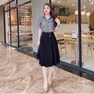 Chân váy đen xòe xếp ly dáng ôm dài qua gối cách điệu 2 cúc - Màu Đen Nâu chất vải dày dặn - Mặc đi làm công sở tiệc học thumbnail
