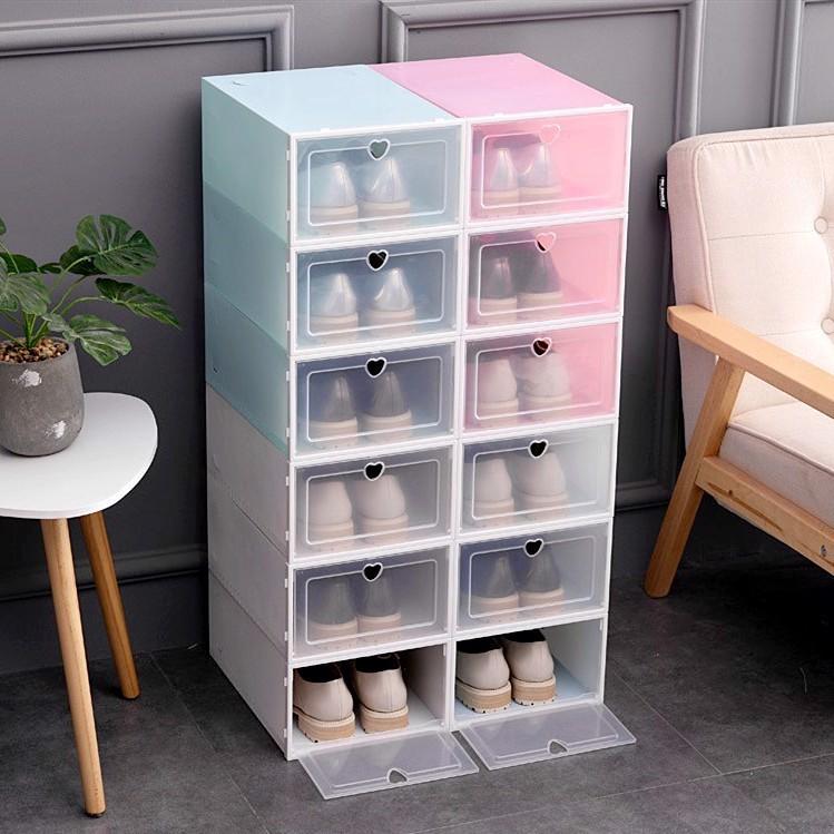 Combo 10 hộp đựng giày nắp nhựa cứng trong suốt, chịu lực 8kg size to , tặng gói hút ẩm.