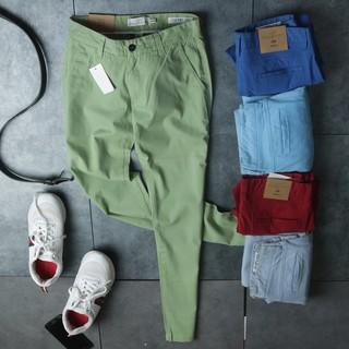 Quần kaki H&M dáng SKINY vải co giãn màu xanh -Đỏ