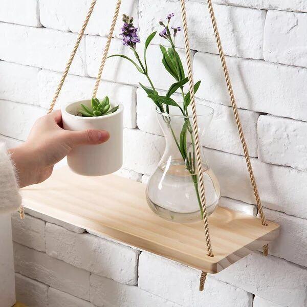 [ XẢ KHO ] Kệ gỗ trang trí kèm dây thừng