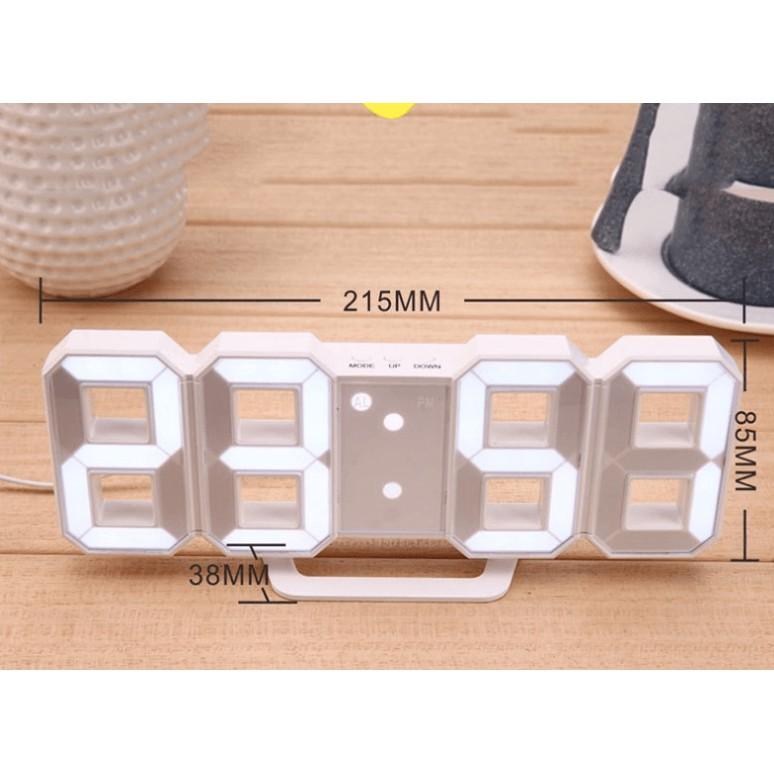(Tặng CÁP SẠC & PIN) Đồng hồ treo tường - Đồng hồ Để bàn điện tử LED 3D DH092 + CỦ SẠC