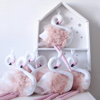 Fairy tale fantasy powder yarn long legs Crown Swan doll Children's room decorat