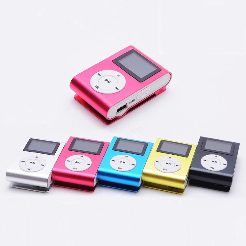 Máy nghe nhạc MP3 Player có kẹp kim loại kèm khe cắm thẻ nhớ và dây cáp