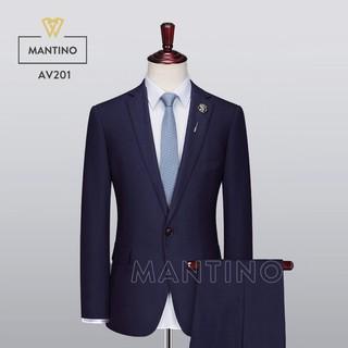 Bộ Vest Xanh Tím Than Vải Tuýt si dày cao cấp AV201