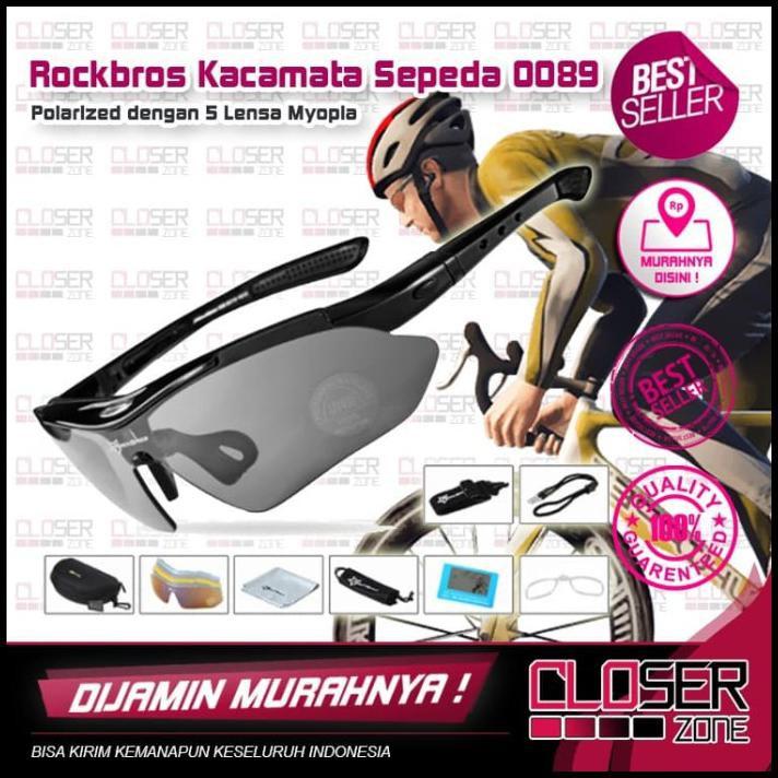 Rockbros kính đạp xe phân cực kèm 5 tròng kính cận thị – 0089