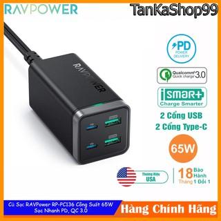 Củ Sạc RAVPower RP-PC136, 65W 2Cổng Usb-A và 2Cổng PD, QC 3.0 - Hàng Chính Hãng
